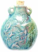 Shipwreck Beads Peruvian Hand Crafted Ceramic Raku Glazed Hummingbird Bottle Pendant, 49mm