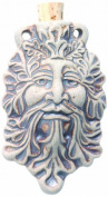 Peruvian Hand Crafted Ceramic High Fire Green Man Bottle Pendant, 36 by 60mm