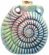 Shipwreck Beads Peruvian Hand Crafted Ceramic Raku Glazed Seashell Bottle Pendant, 42mm