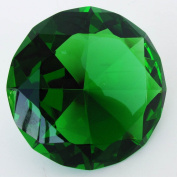 Giant 100 mm Emerald Green Cut Glass Faceted Crystal Diamond