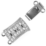 Rhodium Plated 2-Strand Box Clasp Rectangle With 14. ELEMENTS 18x10mm