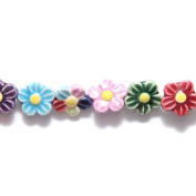Shipwreck Peruvian Hand Crafted Ceramic Daisy Flower Beads, 12mm, Assorted, 10 Per Pack