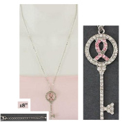 "Necklace ~ Breast Cancer ~ ""Key"" with Pink Ribbons & Rhinestones"