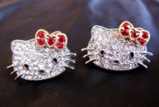 HELLO KITTY RHINESTONE EARRINGS