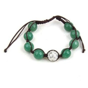 Shamballa Hip Hop Style Eight Jade Beads, and 1 Crystal White Disco Ball