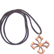 Flower Cross - olive wood necklace, necklace is 60cm long - 23.5 inches )