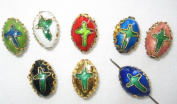 80 10x13mm Oval Cross Mix Cloisonne Beads
