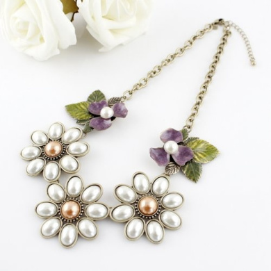Hot Selling Fashion Flower Leaf Rhinestones Chian Choker Necklace Costume Jewellery