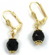 Azabache earrings. Gold filled 1cm stone and 3.8cm overall length