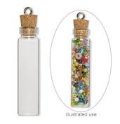 20 Mini Glass Bottles 1-3/4 inch (45x11mm) Message Treasure Charm Pendant Kit Makes 20 Bottle Pendants
