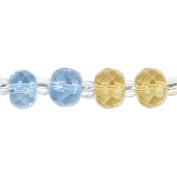Blue Moon Glass Machine Cut Rondel Strung Beads - 18cm Strand/Yellow