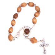 Chaplet / Bracelet Holy Rosary - Olive wood with Holy Land Soil centre