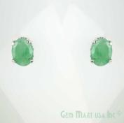 Beautiful Sterling Silver Emerald Studs -Oval 6x8mm Emerald - 4 Prong Setting