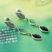 Elegant Earrings-Pure 925 Sterling Silver w/Quality Agate,Gorgeous Design,Comes w/Free Jewellery Box & Silver Polishing Cloth,0.8cm x 4.5cm and Weight 3.54g,Super Saving, .  d.