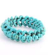 20mm Blue Turquoise Flower Stretch Bracelet