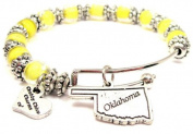 Oklahoma State Lemon Yellow Glass Beaded Adjustable Bangle Bracelet ChubbyChicoCharms