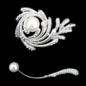 Set of Crystal Brooch Pin & Rhinestone Pearl Brooch