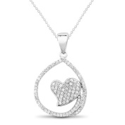 New 925 Sterling Silver Heart Inside Cz Pendant with 46cm Chain