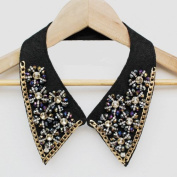 Black Collar Necklace with Shining Rhinestones; Plus a Free Gift Cellphone Anti-dust Plug