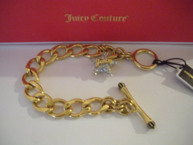 Juicy Couture Gold Toned Chain Link Pave Star Bracelet