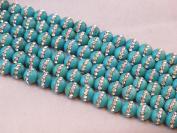 Natural Turquoise with One-line Rhinestone Round 8mm 15.5'' Strand Beads Gemstone 45pcs