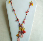 Pink Orange glass One Strand Beads Necklace 60cm .