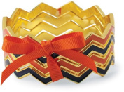 Chevron Bangle Set Orange and Navy Mudpie