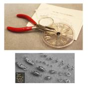 Necklace Bracelet Bead Stringing / Repair Starter Kit Silvertone Beading Kit - clasps crimps wire cord..