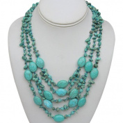 50cm Stunning 3 Strands Green Turquoise Howlite Necklace With Toggle Clasp