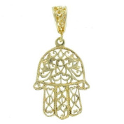 Jewish Hamsa Hand Pendant Gold Layered Charm Hand of Fatima