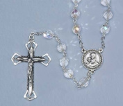 """Iridescent Crystal Lourdes Beaded Rosary with 8MM Glass Beads 22"""""""