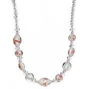 """Lova Jewellery """"Winter Flowers"""" White Hand-Blown Venetian Murano Glass Necklace"""