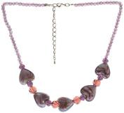 "Lova Jewellery ""Violet Hearts"" Hand-Blown Venetian Murano Glass Necklace"