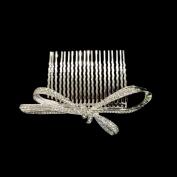 Fashion Long Ribbon Hair Comb Wedding Hair Bow Pin Czech Crystal Hair