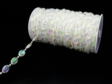 99 ft Faux Crystal Oval Beads Garland by the roll