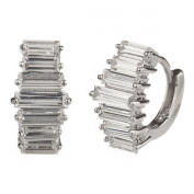 New Gorgeous 925 Sterling Silver Cz Baguette Huggie Earrings with Gift Box