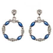 New Sterling 925 Silver Blue Sapphire Cirlce Cz Dangle Earrings with Gift Box