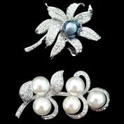 Set of Black Pearl Brooch Pin & Leaf Art Flower Pearl Brooch