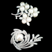 Set of Crystal Brooch Pin & 3 Pearl Set Flower Brooch