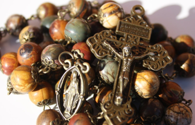 Large Picasso Jasper and Bronze 10mm 5 Decade Natural Stone Bead Rosary Made in Oklahoma