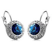 Deep Ocean Blue Crystal Earrings Princess Kate Style