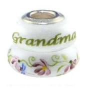 Fenton Heartstrings Bead - Grandma - Handmade USA Made Glass Handpainted 0B008HR