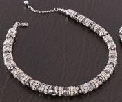 Rhodium Metal, Rhinestone & Crystal Necklace