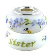 Fenton Heartstrings Bead - Sister - Handmade USA Made Glass Handpainted 0B008HT-FENT
