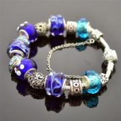 Blue Flower Beaded Charm Bangle Bracelet