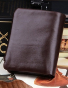 Luxury Genuine Soft Cow Leather Men or Women's Natural Leather Purse Wallet Card Bag Business Coffee Carry Bag Brown