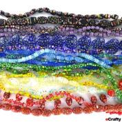 Millefiori Glass Beads MEGA MIX Rainbow Assortment Over 14 FEET 400+ Art Beads!