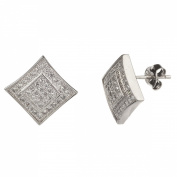 New Mens/unisex 925 Sterling Silver Cz Square Kite Stud Earrings-11mm