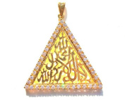 A Beautiful Triangle 'SHAHADA' Pendant Hand Crafted From Sterling Silver and Studded with Zircon Stones. Special Rhodium Gold Plating for a Durable, Extra Long Life Finish.