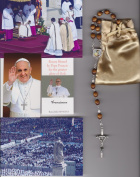 Saint Agatha Relic Rosary Blessed by Pope Francis on 3/19/2013 at Inauguration Mass Patron of Breast Cancer 50cm Brown Wooden Beads